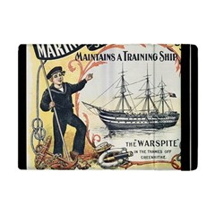 Vintage Advertisement British Navy Marine Typography Apple Ipad Mini Flip Case by yoursparklingshop