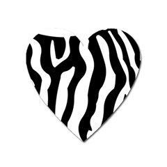 Zebra Horse Skin Pattern Black And White Heart Magnet by picsaspassion