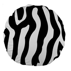 Zebra Horse Skin Pattern Black And White Large 18  Premium Round Cushions by picsaspassion