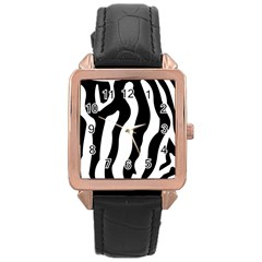 Zebra Horse Skin Pattern Black And White Rose Gold Leather Watch  by picsaspassion