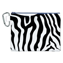 Zebra Horse Skin Pattern Black And White Canvas Cosmetic Bag (xxl) by picsaspassion