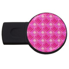 Pink Sweet Number 16 Diamonds Geometric Pattern Usb Flash Drive Round (2 Gb)  by yoursparklingshop