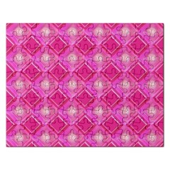Pink Sweet Number 16 Diamonds Geometric Pattern Rectangular Jigsaw Puzzl by yoursparklingshop