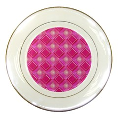 Pink Sweet Number 16 Diamonds Geometric Pattern Porcelain Plates by yoursparklingshop