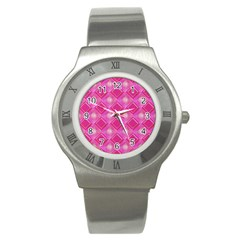 Pink Sweet Number 16 Diamonds Geometric Pattern Stainless Steel Watch by yoursparklingshop