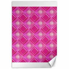 Pink Sweet Number 16 Diamonds Geometric Pattern Canvas 20  X 30   by yoursparklingshop