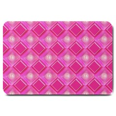 Pink Sweet Number 16 Diamonds Geometric Pattern Large Doormat  by yoursparklingshop