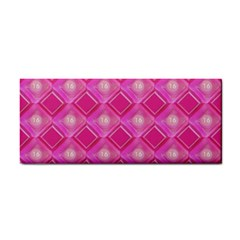 Pink Sweet Number 16 Diamonds Geometric Pattern Hand Towel by yoursparklingshop