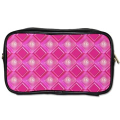 Pink Sweet Number 16 Diamonds Geometric Pattern Toiletries Bags 2 Side by yoursparklingshop