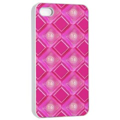 Pink Sweet Number 16 Diamonds Geometric Pattern Apple Iphone 4/4s Seamless Case (white) by yoursparklingshop