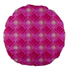 Pink Sweet Number 16 Diamonds Geometric Pattern Large 18  Premium Flano Round Cushions by yoursparklingshop
