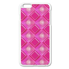 Pink Sweet Number 16 Diamonds Geometric Pattern Apple Iphone 6 Plus/6s Plus Enamel White Case by yoursparklingshop