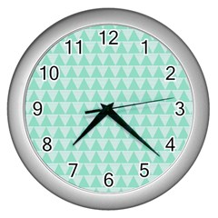 Mint Color Triangle Pattern Wall Clocks (silver)  by picsaspassion