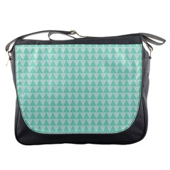 Mint Color Triangle Pattern Messenger Bags by picsaspassion