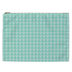 Mint Color Triangle Pattern Cosmetic Bag (xxl)  by picsaspassion