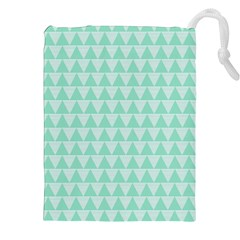 Mint Color Triangle Pattern Drawstring Pouches (xxl) by picsaspassion
