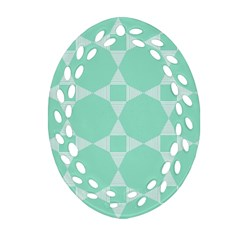 Mint Color Star   Triangle Pattern Ornament (oval Filigree)  by picsaspassion