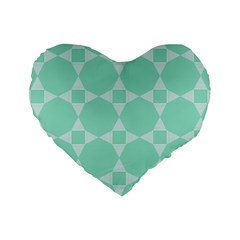 Mint Color Star   Triangle Pattern Standard 16  Premium Flano Heart Shape Cushions by picsaspassion