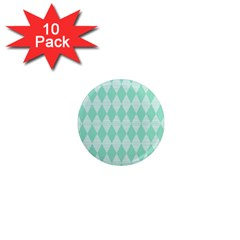Mint Color Diamond Shape Pattern 1  Mini Magnet (10 Pack)  by picsaspassion