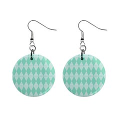 Mint Color Diamond Shape Pattern Mini Button Earrings by picsaspassion