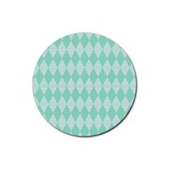 Mint Color Diamond Shape Pattern Rubber Coaster (round)  by picsaspassion