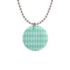 Mint Color Diamond Shape Pattern Button Necklaces by picsaspassion
