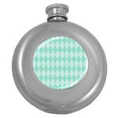 Mint Color Diamond Shape Pattern Round Hip Flask (5 Oz) by picsaspassion