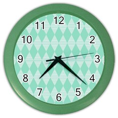 Mint color Diamond shape pattern Color Wall Clocks by picsaspassion