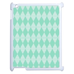 Mint Color Diamond Shape Pattern Apple Ipad 2 Case (white) by picsaspassion