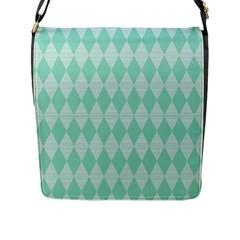 Mint Color Diamond Shape Pattern Flap Messenger Bag (l)