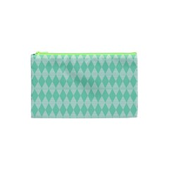 Mint Color Diamond Shape Pattern Cosmetic Bag (xs) by picsaspassion