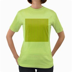 Summer Sand Color Pink Stripes Women s Green T Shirt by picsaspassion