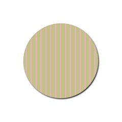 Summer Sand Color Pink Stripes Rubber Round Coaster (4 Pack)  by picsaspassion
