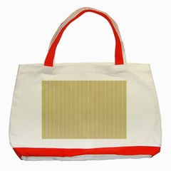 Summer Sand Color Pink Stripes Classic Tote Bag (red) by picsaspassion