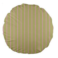Summer Sand Color Pink Stripes Large 18  Premium Round Cushions by picsaspassion