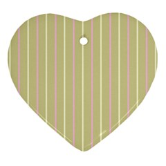 Summer Sand Color Pink And Yellow Stripes Ornament (heart) by picsaspassion