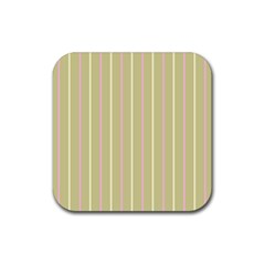 Summer Sand Color Pink And Yellow Stripes Rubber Coaster (square) by picsaspassion