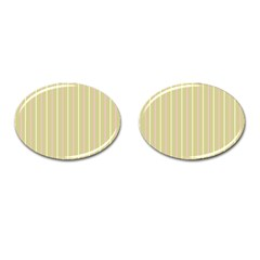 Summer Sand Color Pink And Yellow Stripes Cufflinks (oval) by picsaspassion