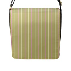 Summer Sand Color Pink And Yellow Stripes Flap Closure Messenger Bag (l) by picsaspassion