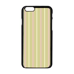 Summer Sand Color Pink And Yellow Stripes Apple Iphone 6/6s Black Enamel Case by picsaspassion