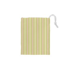 Summer Sand Color Pink And Yellow Stripes Drawstring Pouch (xs) by picsaspassion