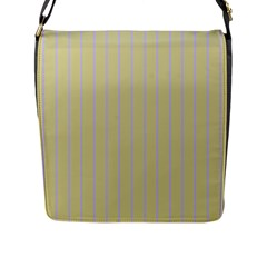 Summer Sand Color Lilac Stripes Flap Messenger Bag (l)  by picsaspassion