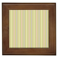 Summer Sand Color Lilac Pink Yellow Stripes Pattern Framed Tiles by picsaspassion