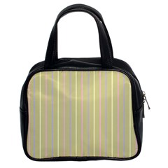 Summer Sand Color Lilac Pink Yellow Stripes Pattern Classic Handbags (2 Sides) by picsaspassion