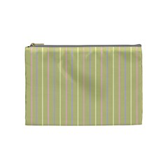 Summer Sand Color Lilac Pink Yellow Stripes Pattern Cosmetic Bag (medium)  by picsaspassion