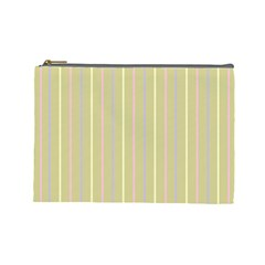 Summer Sand Color Lilac Pink Yellow Stripes Pattern Cosmetic Bag (large)  by picsaspassion
