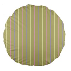 Summer Sand Color Lilac Pink Yellow Stripes Pattern Large 18  Premium Flano Round Cushions by picsaspassion