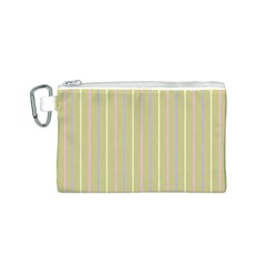Summer Sand Color Lilac Pink Yellow Stripes Pattern Canvas Cosmetic Bag (s) by picsaspassion