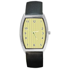 Summer Sand Color Yellow Stripes Pattern Barrel Style Metal Watch by picsaspassion