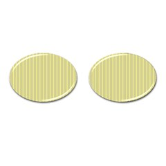 Summer Sand Color Yellow Stripes Pattern Cufflinks (oval) by picsaspassion